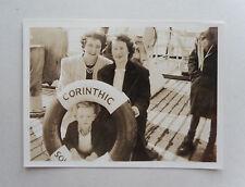 Vintage 30s B/W Photograph. SS Corinthic. Liner Passengers. Women & Boy