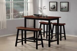 dining table set, 4 person, rubberwood counter height table, solid wood.