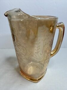 Vintage JEANNETTE GLASS Carnival Floragold Louisa Iridescent Pitcher 64oz Peach