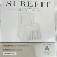 Sure Fit essential twill ruffle Wing Chair T-Cushion Slipcover white