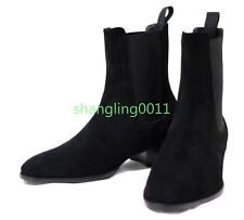 British Mens Suede Leather Pointy Toe Heels Ankle Boots Combat Chelsea Shoes Sz