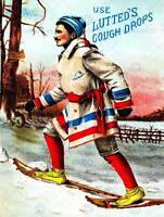VINTAGE ADVERT FRENCH CANADIAN SNOWSHOES COUGH DROPS NEW ART PRINT POSTER CC4718