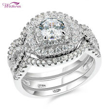 2ct Round White Aaa Cz Size 7 3pcs Wedding Rings For Women Engagement Ring Set