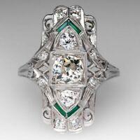 Retro Vintage Antique Art Deco 14k Gold Over 3 Ct Round Diamond Engagement Ring