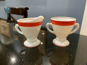 White Milk Glass Red Gold Stripe Creamer & Sugar
