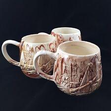 Alaska Pipeline Coffee Cup Mug Red White Clay Raised Design 1970's SET OF 3
