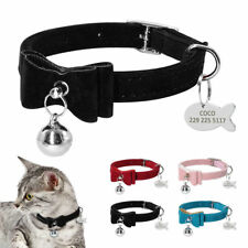 Suede Small Dog Kitten Cat Collar & Tag Disc Engraved Bow Tie Pet Puppy Necktie