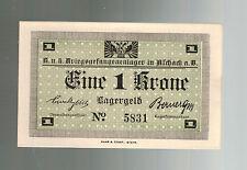 WW 1 Prisoner of War POW Camp Austria Hungary Currency 1 Krone Lagergeld