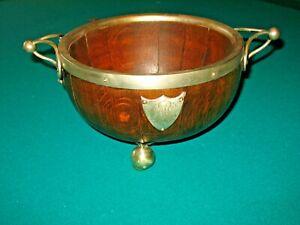 Antique Silver-Oak Sheffield Center Server Porcelain Bowl 1884 Quarter Cut Wood