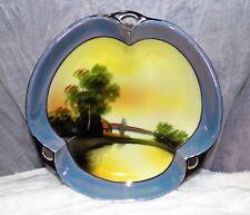 "Vintage Art Nouveau Noritake 3 Handled 7"" Bowl House River Trees Scenic Green M"