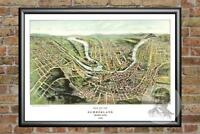 Old Map of Cumberland, MD from 1906 - Vintage Maryland Art, Historic Decor