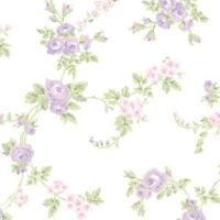 Floral Wallpaper Green Leaf Vine Purple Pink Flower Norwall Wallcovering AB27660