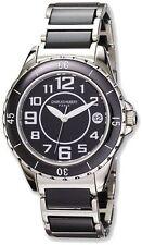 Ladies Charles Hubert Stainless Steel and Ceramic Black Dial Watch