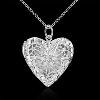 Women's Sterling Silver Heart Love Photo Locket Necklace Pendant Love Forever