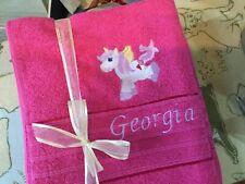 Unicorn personalised bath sheet
