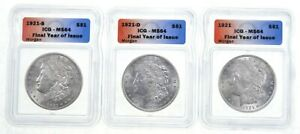Lot (3) MS64 1921-(P)/S/D Morgan Silver Dollar - Final Year Of Issue - ICG *4034