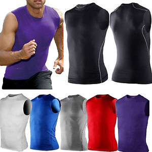 Mens Compression Base Layer T-Shirt Muscle Tank Vest Workout Gym Sports Tops