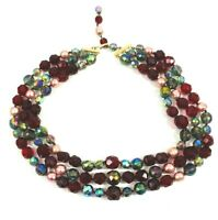 Vintage Faceted Glass Crystals Faux Pearls Necklace Three Strands Pink Red Blue