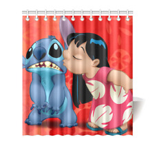 Custom Lilo and Stitch Polyester Fabric Waterproof Shower Curtain 66''x72''