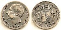 Spain-Alfonso XII. 1 Peseta. 1883*18-83. Madrid. MBC/VF. Plata 5 g.