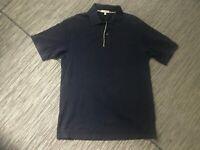 Burberry London Men's Small Polo Shirt Short Sleeve Blue Cotton