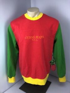 NWT Sean Wotherspoon x Guess USA Crewneck Farmers Market Coral Green Yellow Sz M