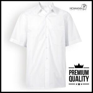 HOMANN Mens Premium Short Sleeve Formal Oxford Shirt BUSINESS OFFICE WORK CASUAL