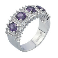 Sterling Silver (925) White Purple Cubic Zirconia Band Ring  Size 9  7.19 Grams