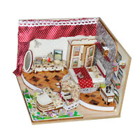 1/24 DIY Miniature Doll House Wooden Simple Bedroom w/ Furniture, LED Light