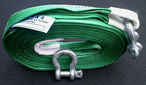 4X4 HEAVY DUTY 7M RECOVERY WINCH TOWING ROPE STRAP 14 TON & 2 x TESTED SHACKLES