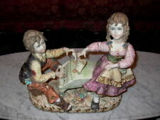 Large Capodimonte Boy Playing Piano w Girl Figure Italy