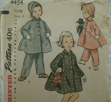Vintage Simplicity 4454 LINED COAT BONNET w/ CHIN STRAPS Sewing Pattern Child