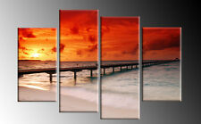 """Red Toned Sunset Beach Pier Canvas Red Orange Wall Art Pictures Split Multi  40"""""""