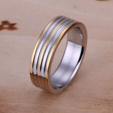 Fashion 925Sterling Solid Silver Jewelry Gold Streak Rings For Men Women R099