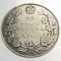 1914 Canada 50 Cents Half Dollar Circulated George V Silver Coin Fifty R632