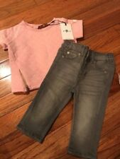 NWT 2 Piece Set Baby Girls 7 FOR ALL MANKIND, SS Quilted Top, Gray Jeans 3/6 Mos