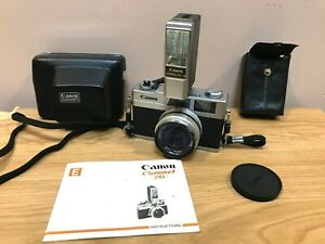 Vintage Canon Canonet 35mm Film Camera+Manual with Case & Strap+ Flash with Case