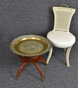 Vintage 1950's Mid Century Asian Moroccan Style Brass Tray Table ~ Coffee Table