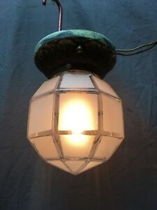 Antique Cast iron Ceiling Light Fixture Octagonal Frosted Glass Globe 376-20E