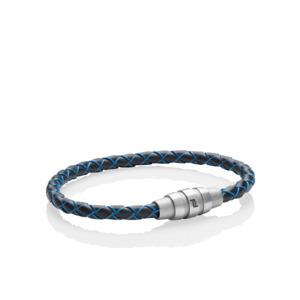 Porsche Design Bracelet Grooves stainless steel,cow leat.Methyl Blue18cm19cm*NEW