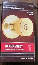 New Keyed Entry Doorknob Mountain Security Exterior Locking -Polished Brass