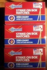 3 Large BOXES (750 total) DIAMOND RED TIP STRIKE ON BOX Matches SURVIVAL CAMPING