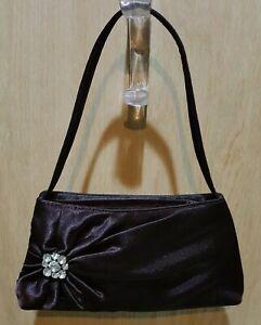 Eggplant Purple Satin Rhinestone Embellished Formal Handbag