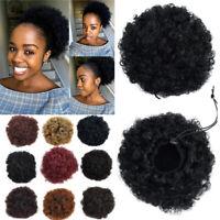 Clip in Afro Puff Bun Hair Extensions Black Updo Thick Chignon Double Bun Short
