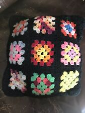 Vintage Crochet Knit Afghan Granny Square Pillow Multi-Color Black Psychedelic