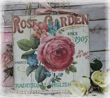 """Rose Garden"" Shabby Chic Vintage Country Cottage style Wall Decor Sign"