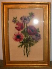 "Vtg 1940's or 1950's Xlnt Floral Needlepoint in Original Wood Frame 11""x16"""