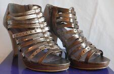Madden Girl Kickoff Metal Multi Tone Platform High Heel Open Toe Pump Size 8.5M