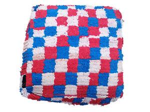 """Vintage Handmade Moroccan Berber Rug Pouf Ottoman Beni Ourain 24""""Sq. x 9"""" h rug"""