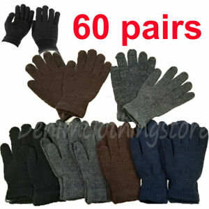 60 pairs Men Women Dark Colors XL Warm Magic Winter Gloves Thermal Wholesale Lot